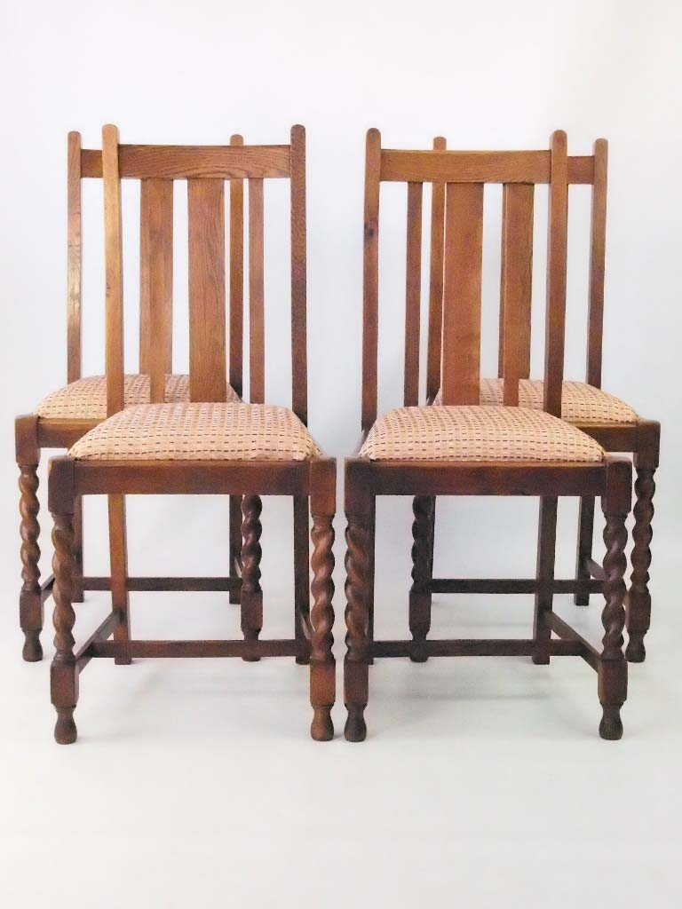 Oak Dinette Chairs ~ Set vintage oak dining chairs circa s