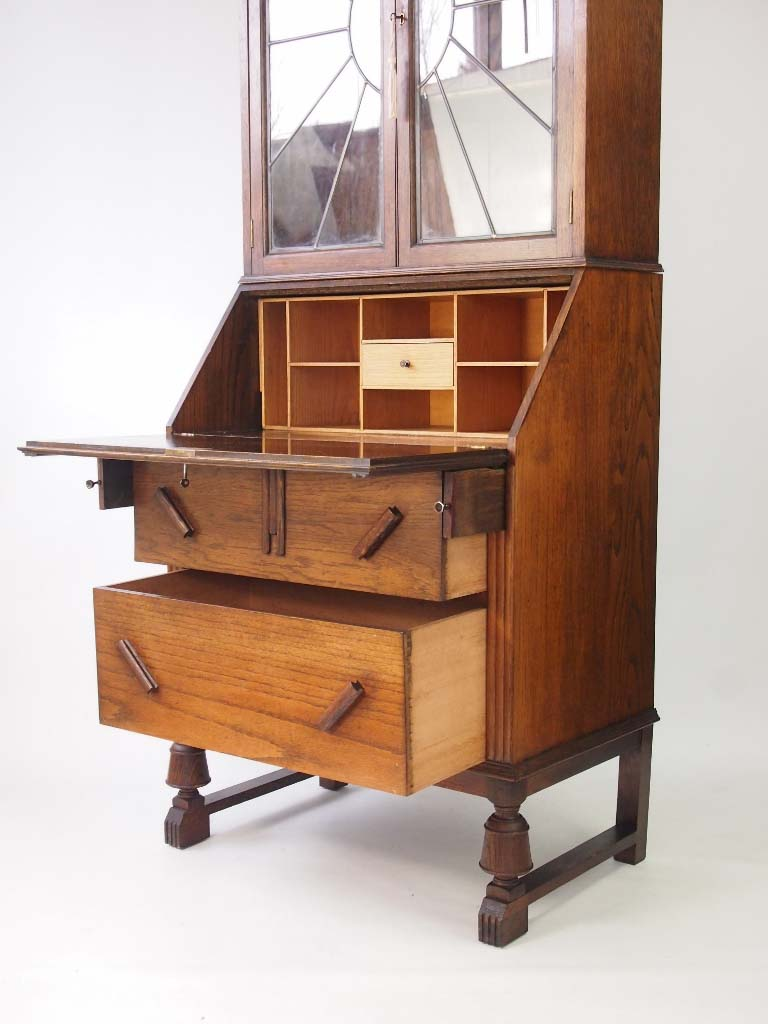 Vintage Oak Art Deco Bureau Bookcase - -