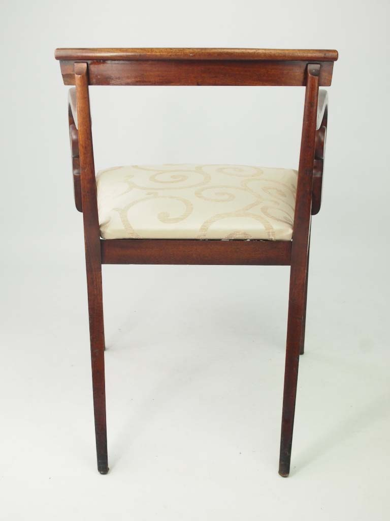 Antique Regency Mahogany Desk Chair Open Armchair
