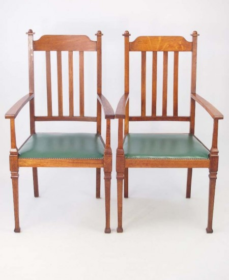 Pair Edwardian Arts Crafts Oak Armchairs