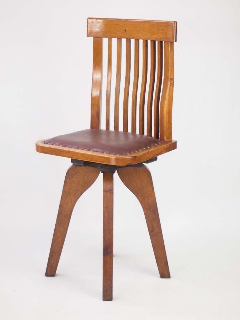 Unusual small oak swivel desk chair for Chair with swivel desk