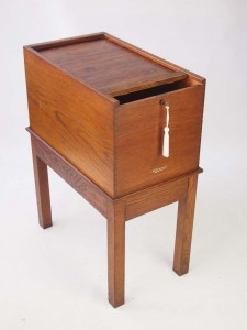 Oak Tambour Top Filing Cabinet by Advance