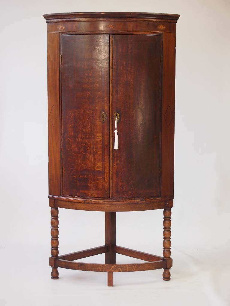 Georgian Bow Front Corner Cupboard On Stand