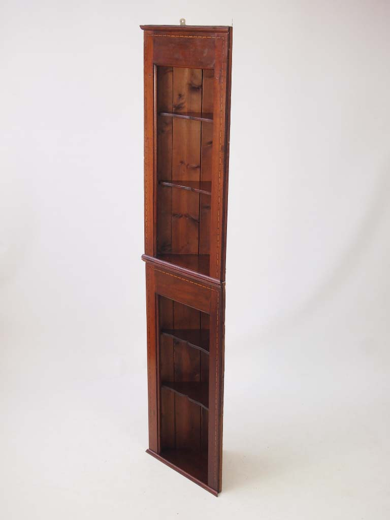 Pair Edwardian Hanging Corner Cabinets Tall Shelf Unit