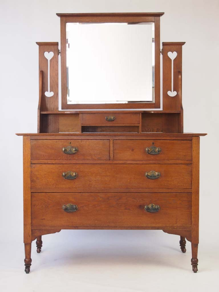 Antique arts crafts oak dressing table for Dressing table