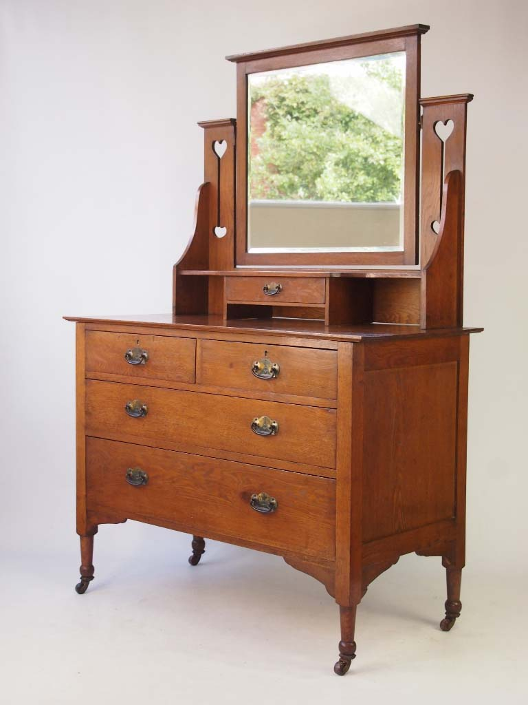 Antique arts crafts oak dressing table