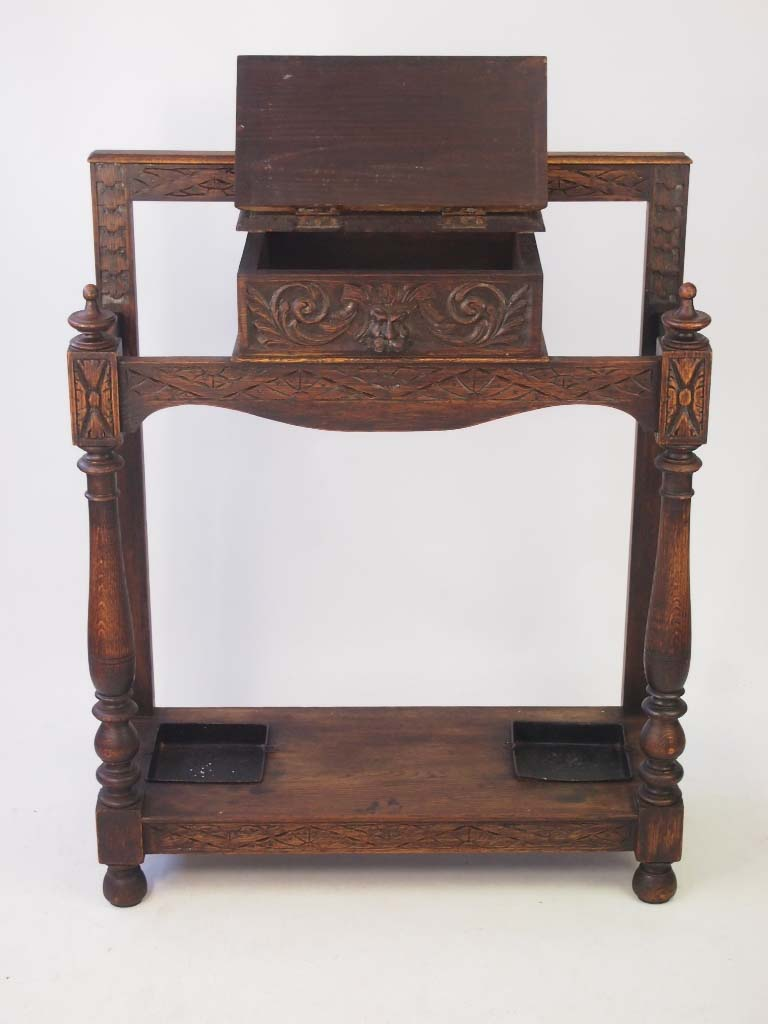 Victorian gothic carved oak hall umbrella stand for Victorian furniture