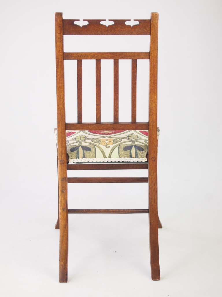 small edwardian arts & crafts oak chair - -