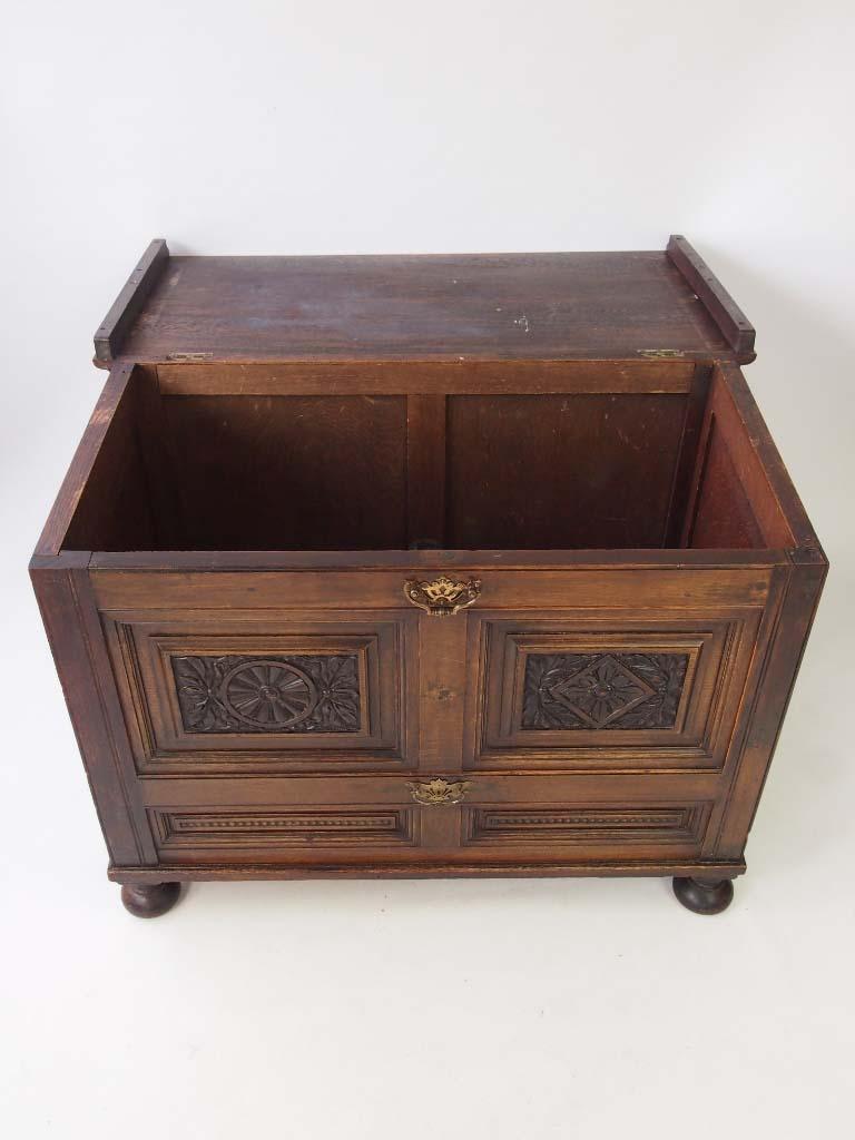 Vintage carved oak blanket chest coffer