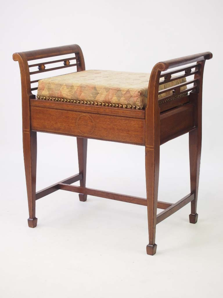 Edwardian mahogany inlaid piano stool for Direct furniture