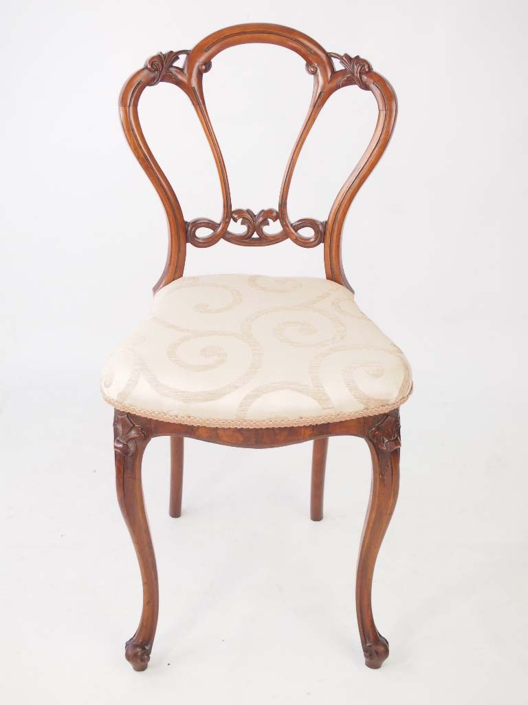 Small antique victorian walnut balloon back chair for Antique desk chair