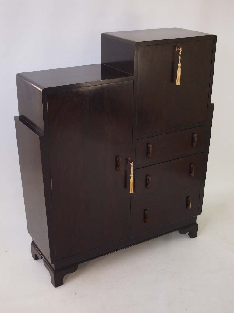 art deco walnut bureau cabinet