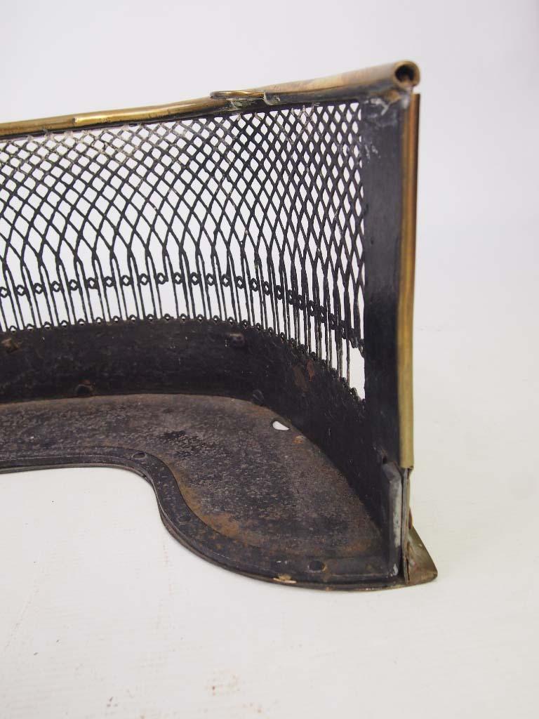 antique regency pierced brass fire fender