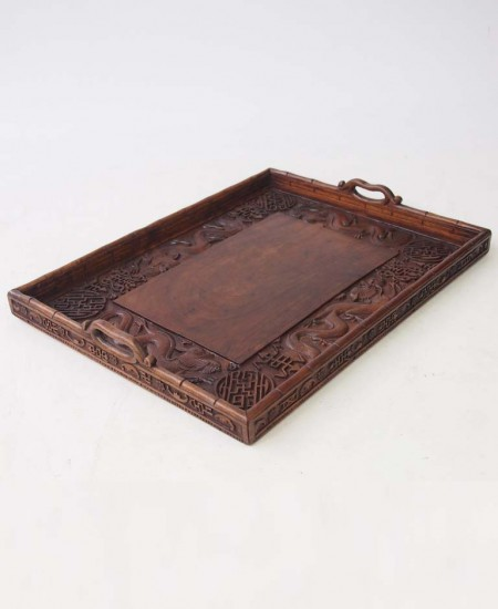 Vintage Carved Chinese Tray
