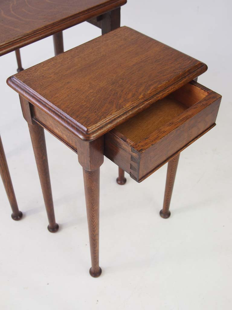 Vintage oak nest of tables