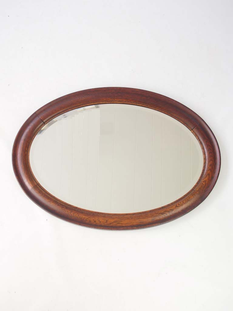 Large vintage oval oak framed mirror for Big framed mirror