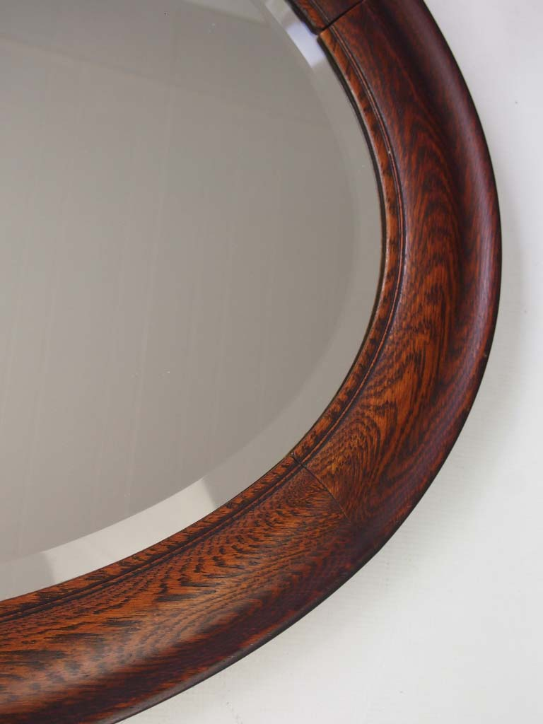 Large vintage oval oak framed mirror for Oval wall mirror
