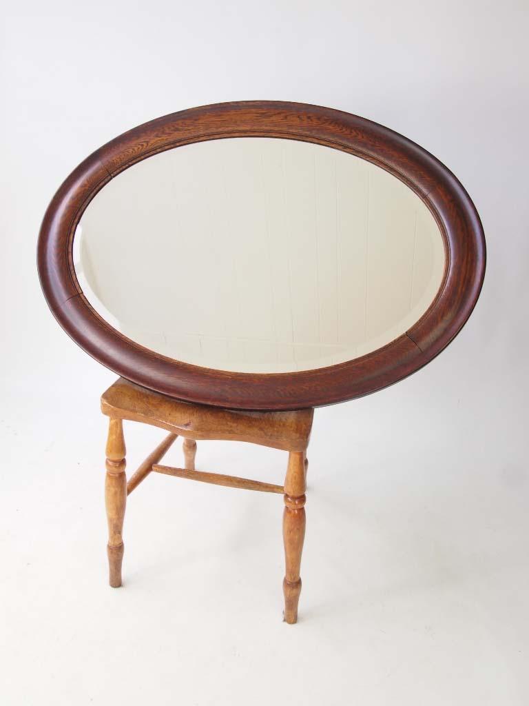 Large Vintage Oval Oak Framed Mirror