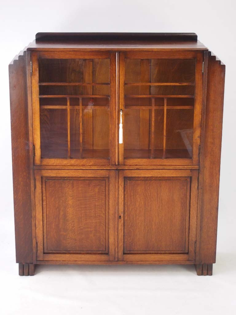 Vintage Art Deco Oak Bookcase