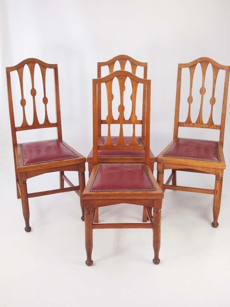set 4 antique arts crafts oak dining chairs. Black Bedroom Furniture Sets. Home Design Ideas