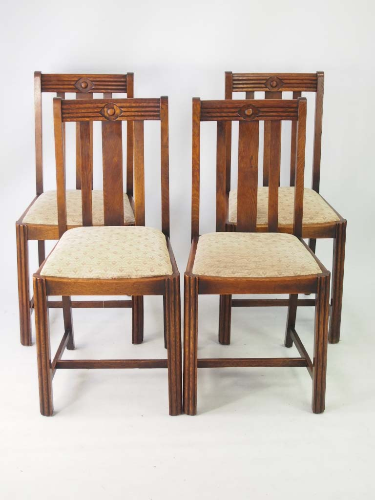 Set vintage art deco oak dining chairs