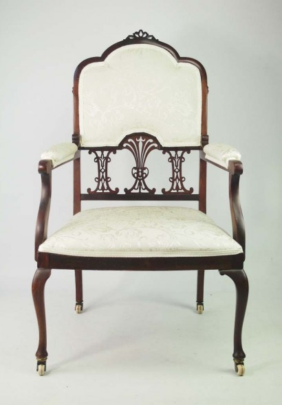 Antique Edwardian Mahogany Armchair Bedroom Chair