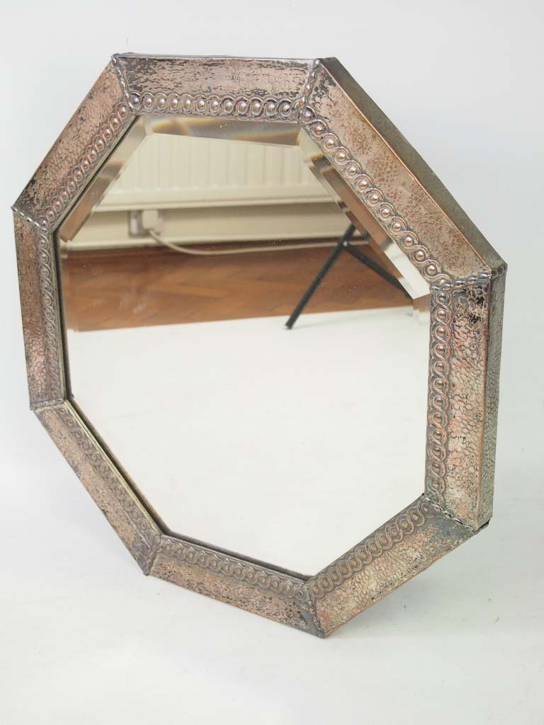 Vintage hexagonal metal framed wall mirror for Metal frame mirror