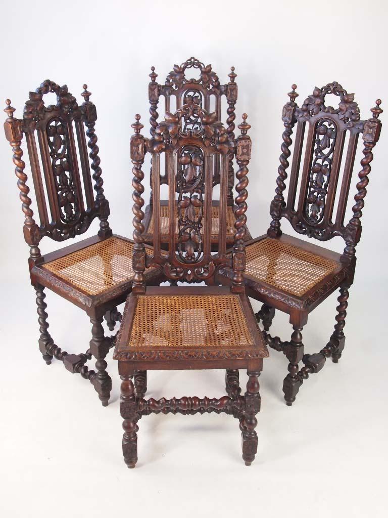 Set 4 Antique Victorian Gothic Oak Chairs