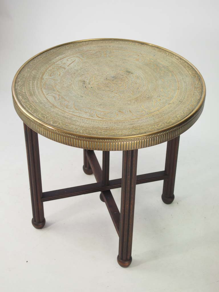 Vintage benares brass tray table coffee table for Vintage coffee table