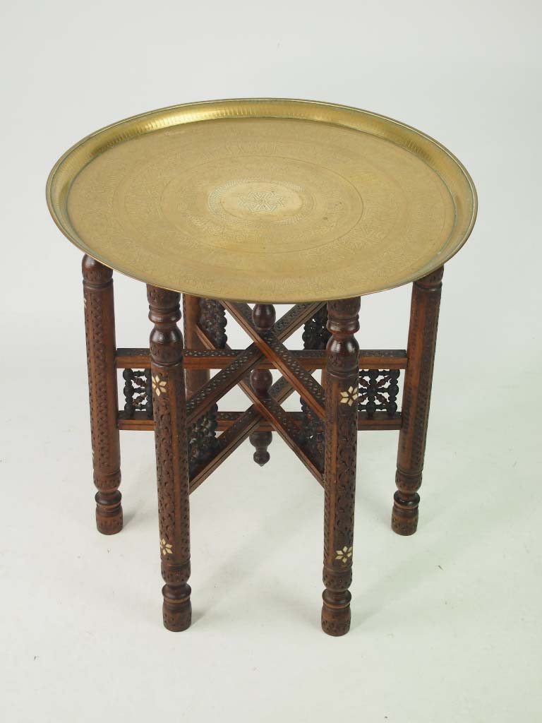 Antique benares brass tray table coffee table for Trays on coffee tables