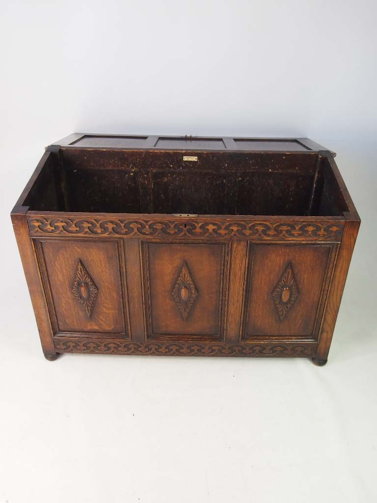 Antique Edwardian Oak Coffer Carved Vintage Blanket Chest Toy Box Coffee Table Ebay