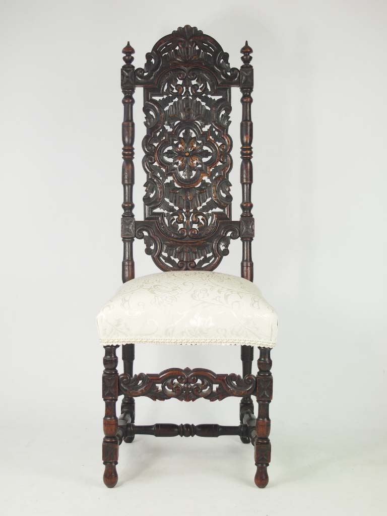 Tall Antique Victorian Gothic Revival Oak Chair