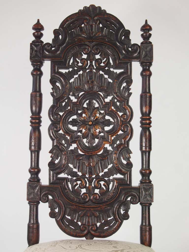 Tall antique victorian gothic revival oak chair for Victorian gothic style