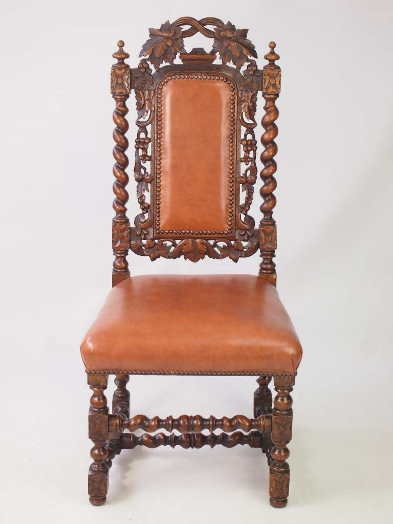 Antique victorian oak gothic revival chair with label for Victorian gothic chair