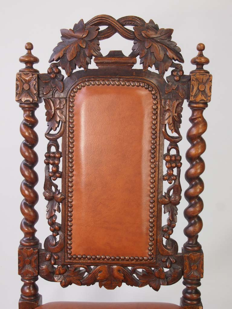 Antique victorian oak gothic revival chair with label for Victorian gothic style
