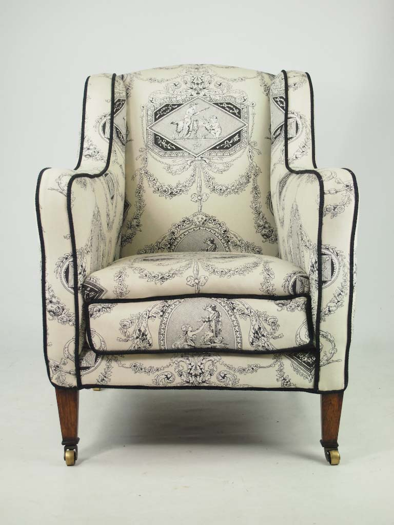 Antique Edwardian Armchair Laura Ashley Fabric Rosewood