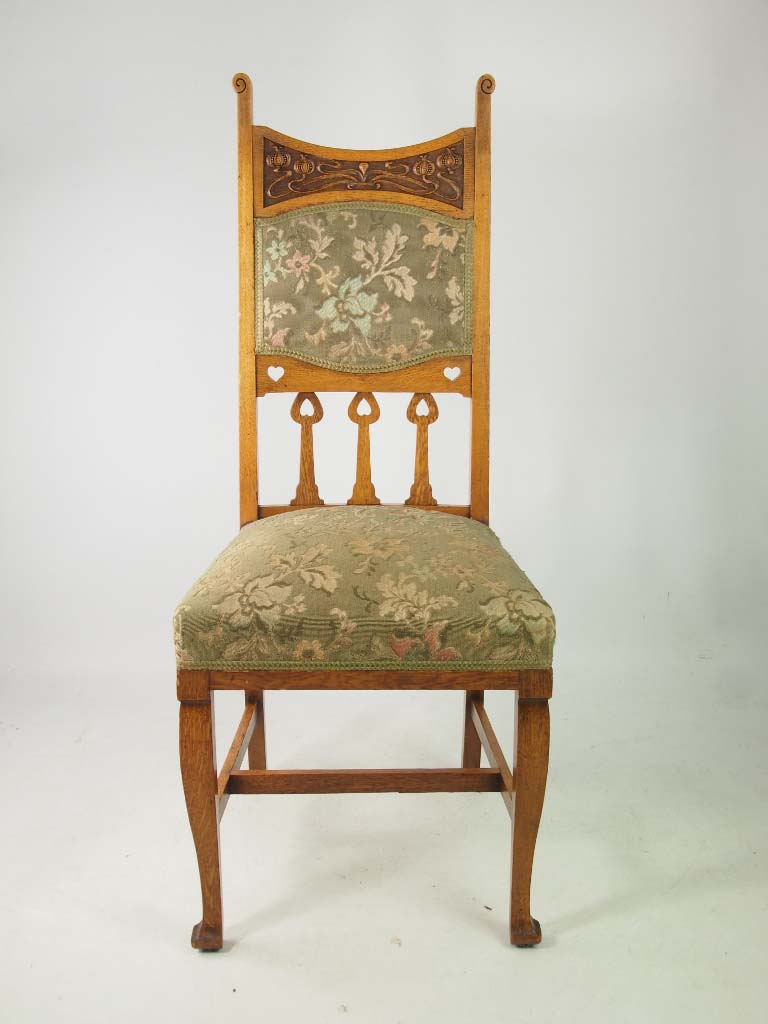 Set 4 Antique Edwardian Oak Arts Crafts Chairs