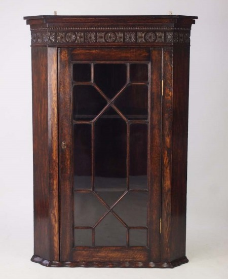 Edwardian Oak Corner Cupboard