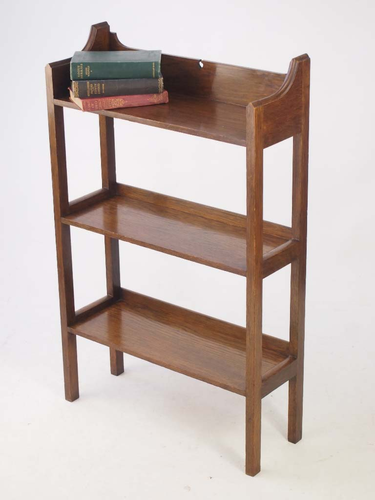 Edwardian arts crafts oak open bookcase for Arts and crafts bookcase