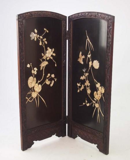 meiji period shibayama fire screen