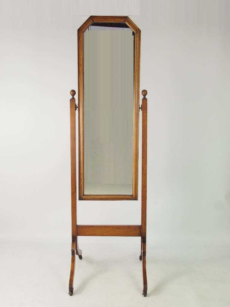 Antique edwardian oak cheval mirror tall vintage for Tall bedroom mirror