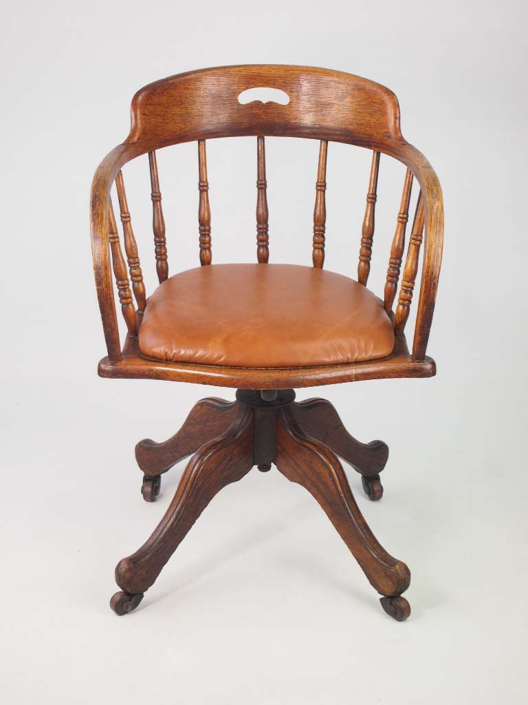 Antique edwardian oak swivel chair with leather seat for Antique furnishings