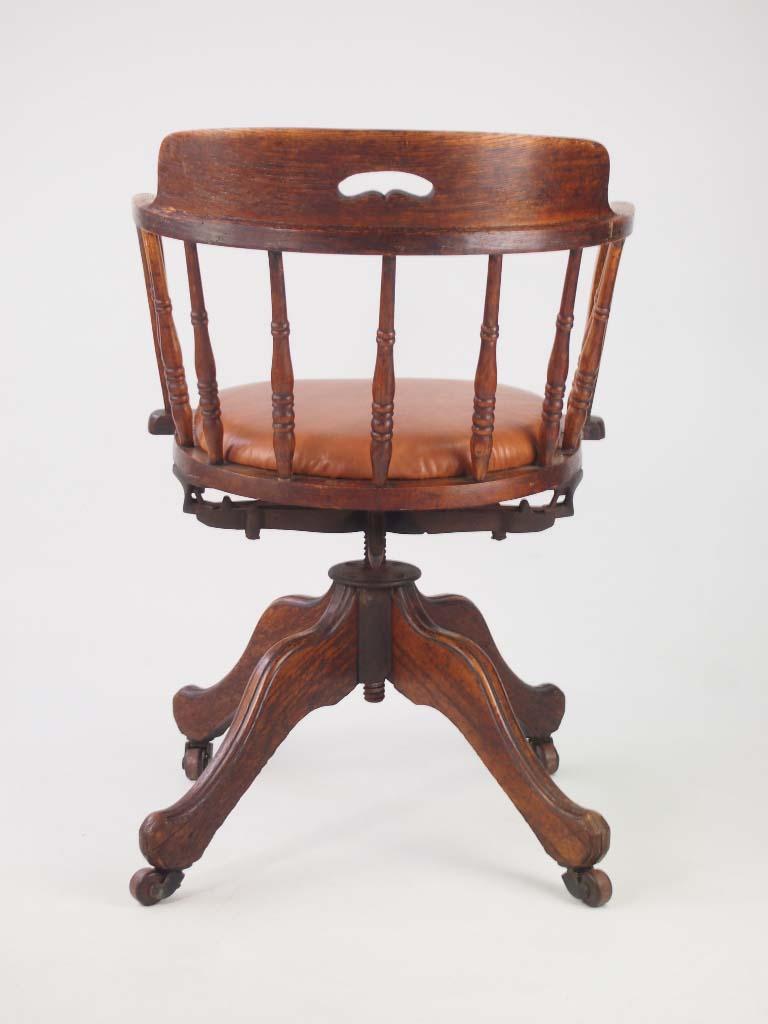 Antique Edwardian Oak Swivel Chair
