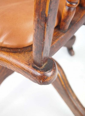 Antique Edwardian Oak Swivel Chair