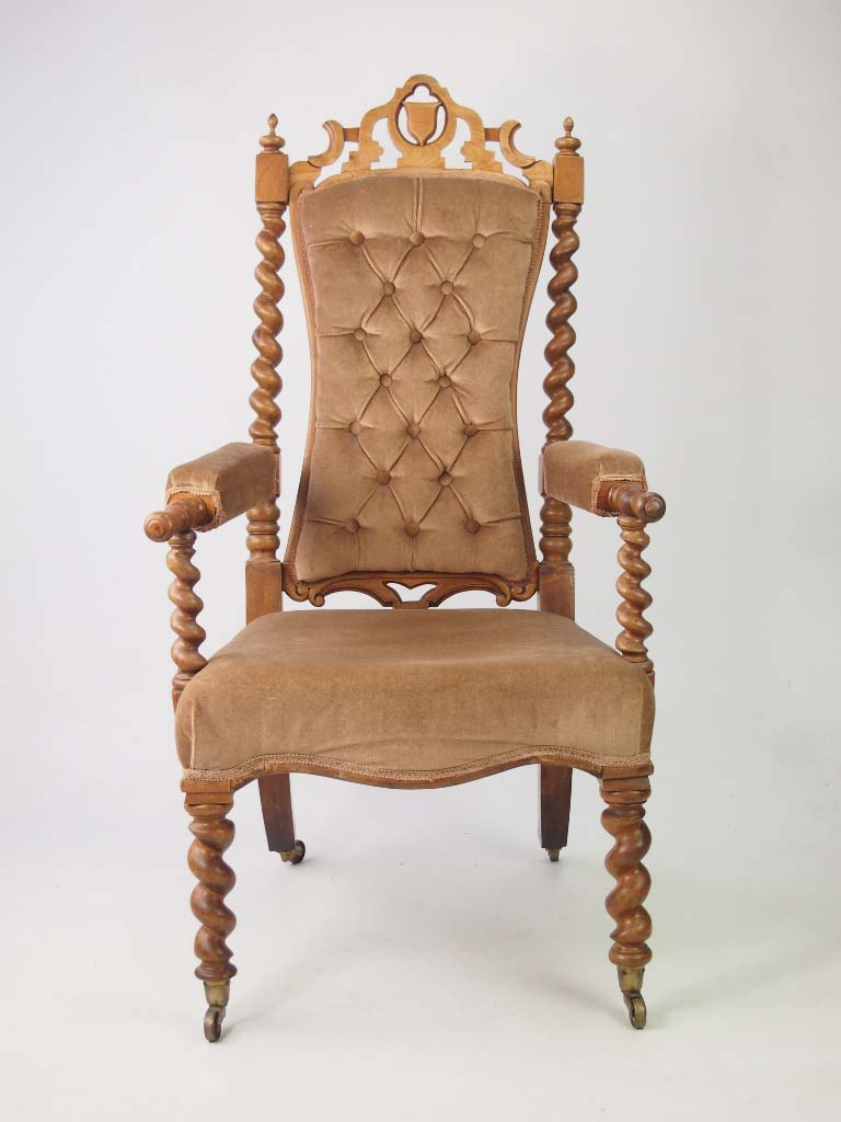 Antique victorian gothic walnut armchair for Victorian furniture
