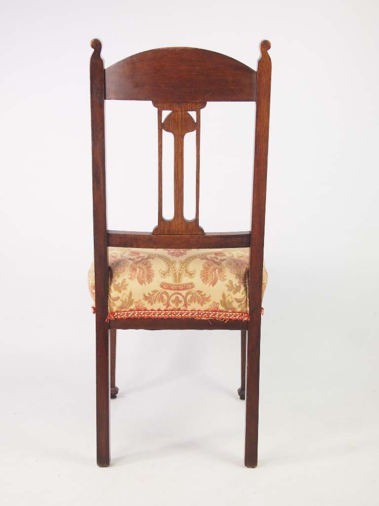 Stylish pair edwardian oak arts crafts chairs for Furniture direct