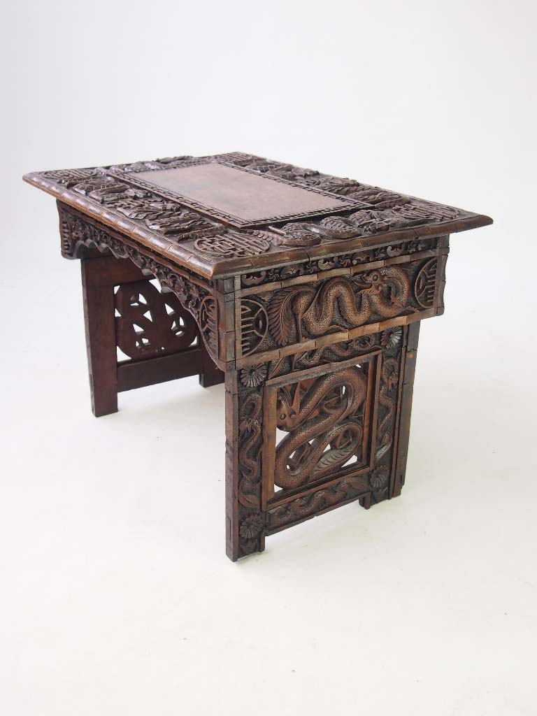 Small carved chinese table coffee table Carved coffee table