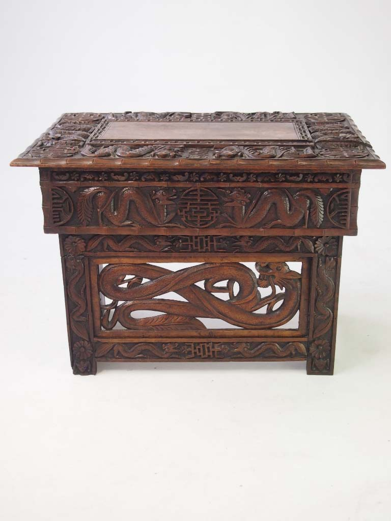 Small carved chinese table coffee table for Oriental wood carved furniture