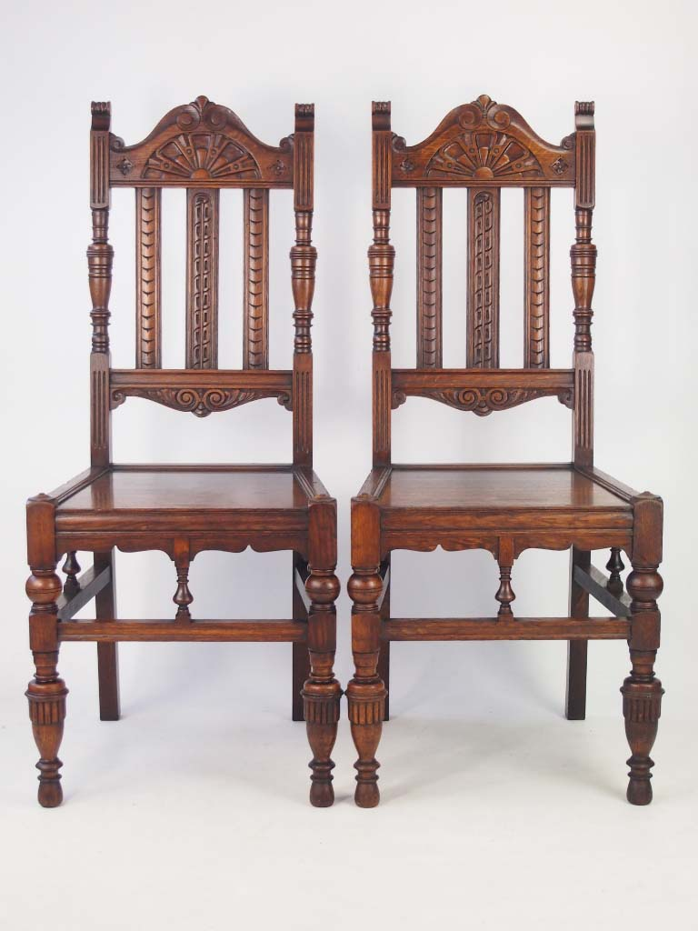 Antique Foyer Chair : Pair antique arts crafts oak hall chairs