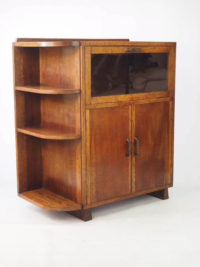 vintage art deco oak cabinet. Black Bedroom Furniture Sets. Home Design Ideas